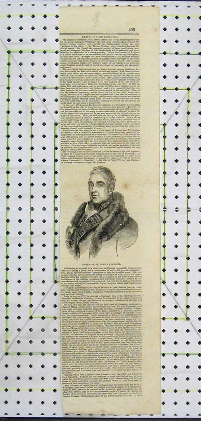 Print Portrait Lord Lynedoch Illustrious Man 112B251 Old Original