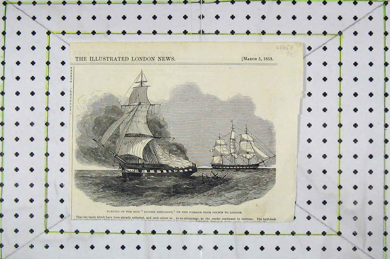 Print Burning Ship British Merchant Passage Cochin London 102B252 Old Original