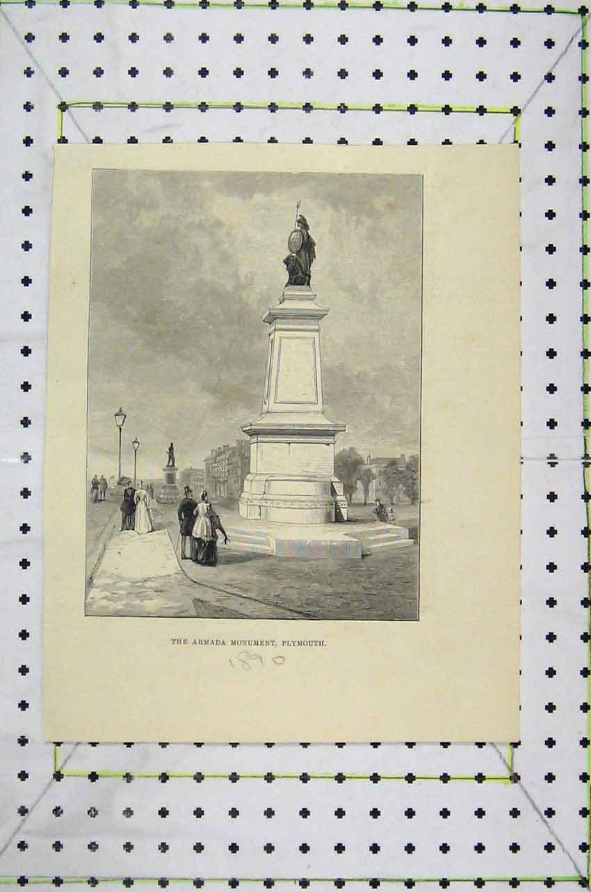 Print 1890 View Armada Monument Plymouth 105B252 Old Original