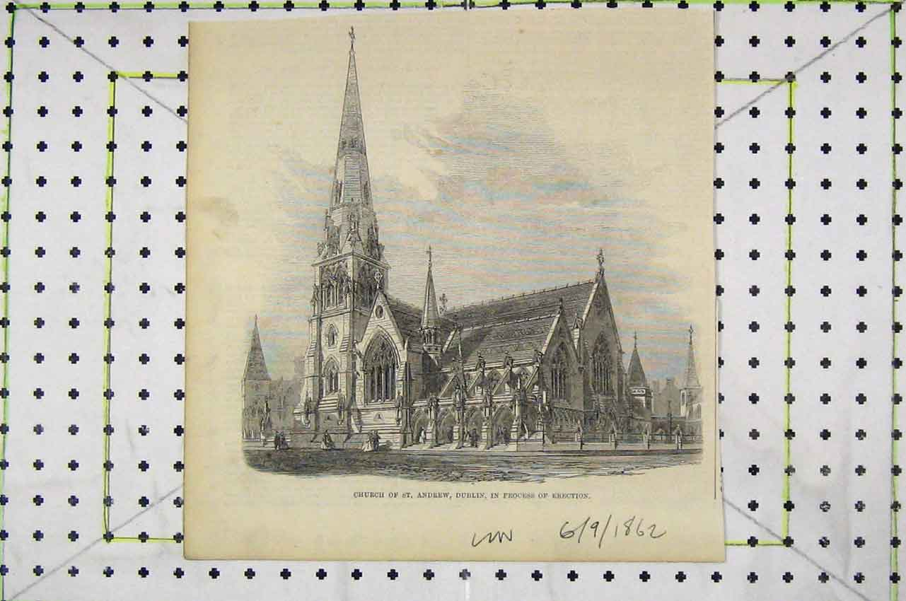 Print 1862 Exterior View Church St Andrew Dublin 115B252 Old Original