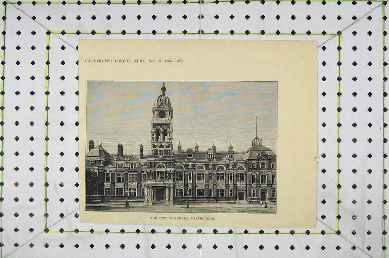 Print 1886 Exterior View Townhall Eastbourne 119B252 Old Original