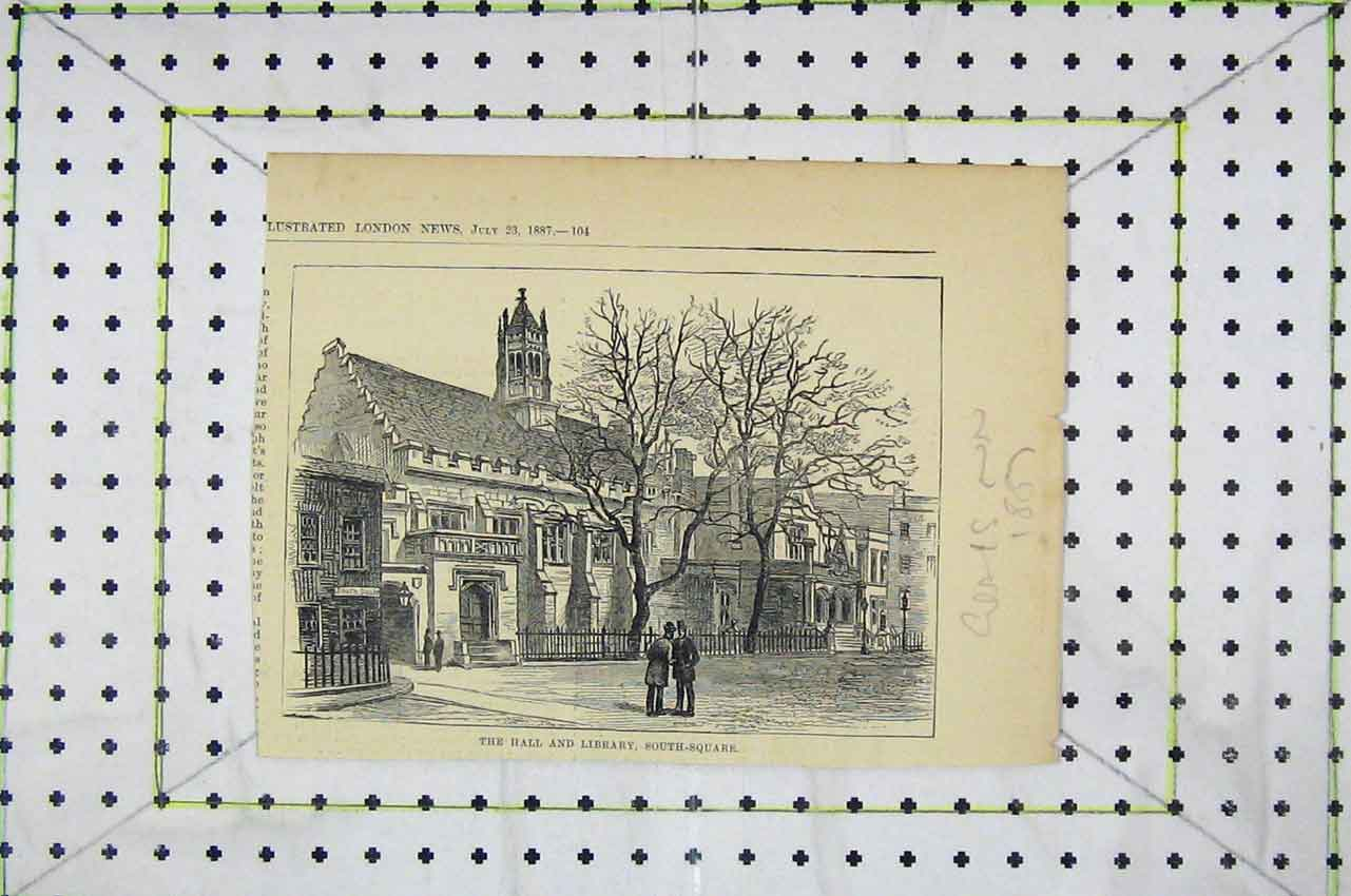 Print 1887 Exterior View Hall Library South- Square 120B252 Old Original