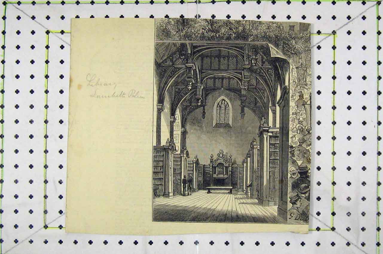 Print Interior View Library Building Books 123B252 Old Original