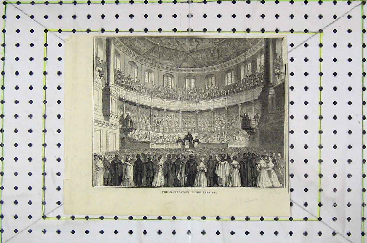 Print Interior View Convocation Theatre Stalls 146B252 Old Original