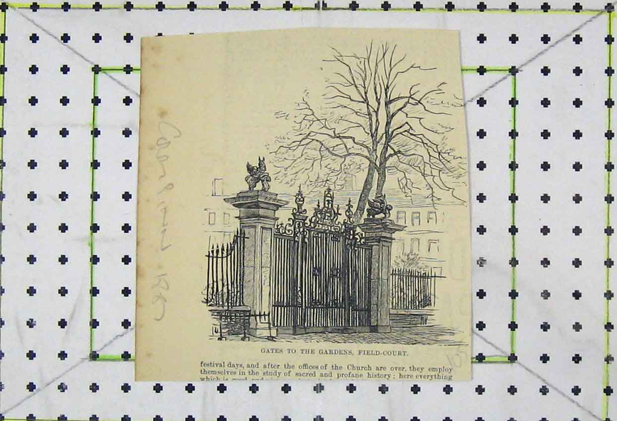 Print 1887 View Gates Gardens Field Court 105B253 Old Original