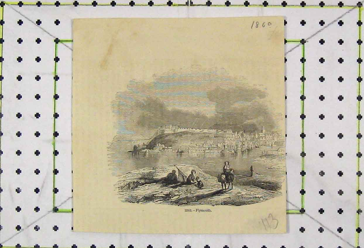 Print 1860 View Plymouth Town Sea Castle 113B253 Old Original