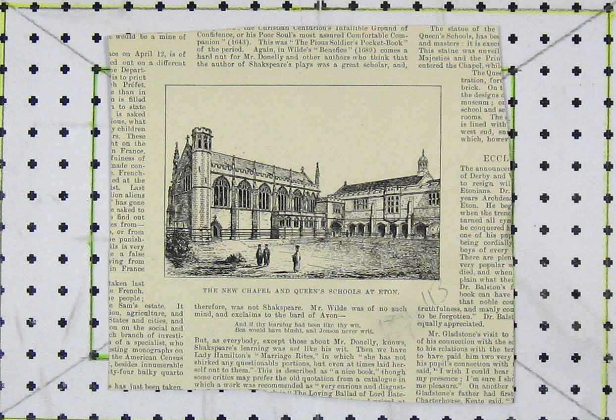 Print View New Chapel Queen'S Schools Eton 113Ab253 Old Original