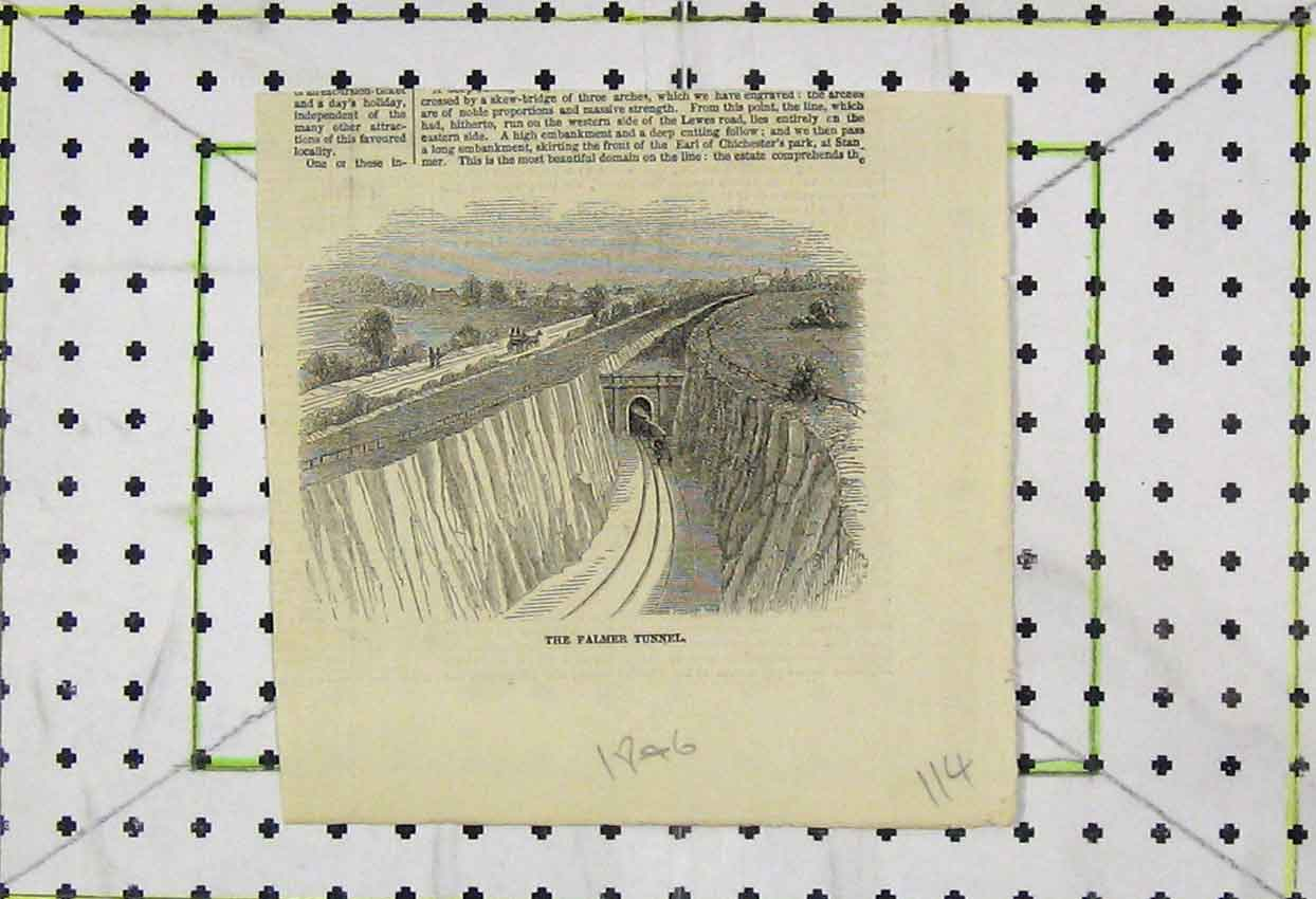Print 1876 View Falmer Tunnel Railway Train 114B253 Old Original