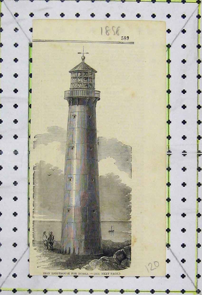 Print 1858 View Iron Lighthouse Russia Sea 120B253 Old Original
