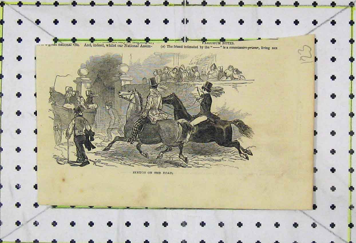 Print Sketch Road Horses Cart Children Gate 123B253 Old Original