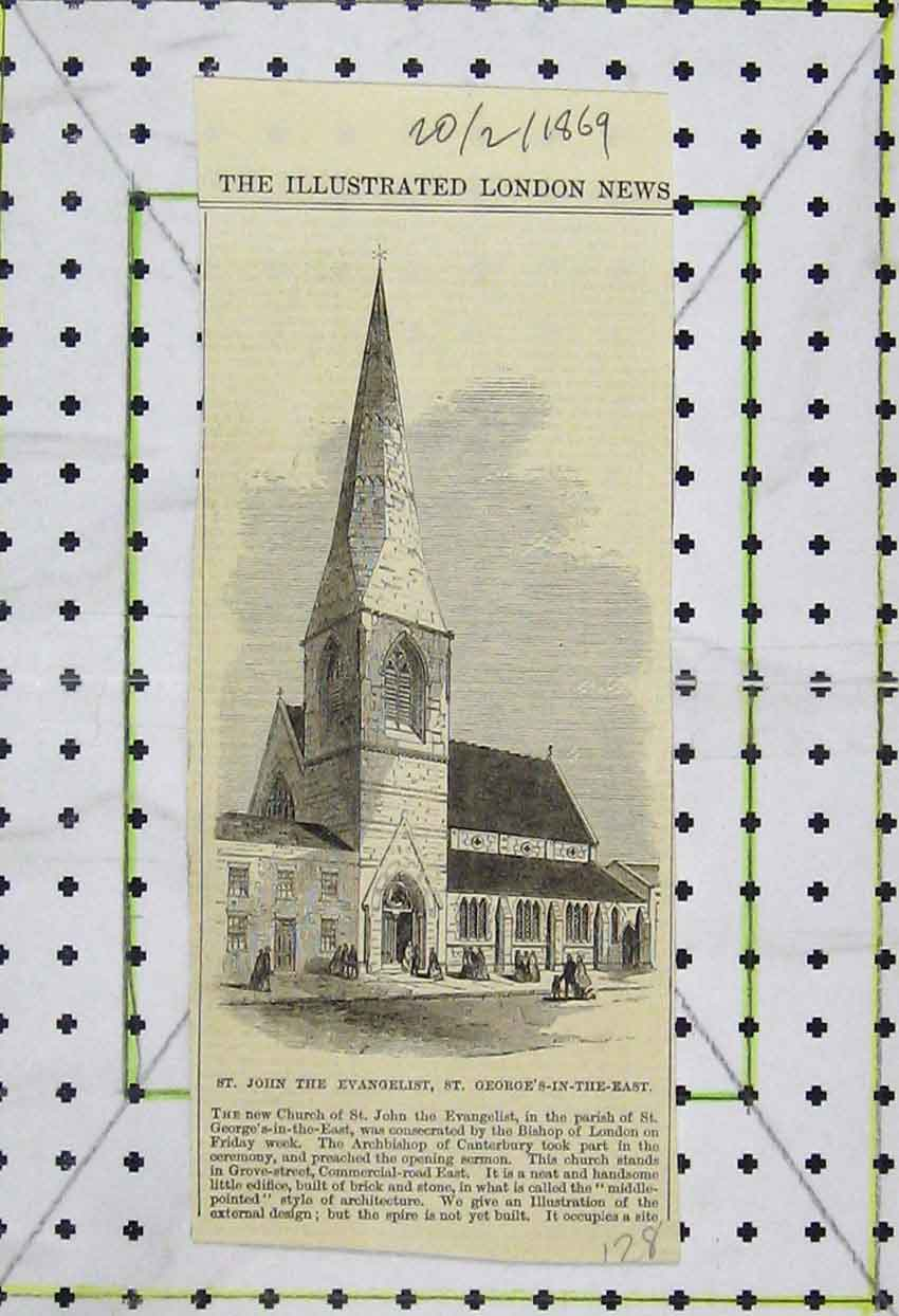 Print 1869 View St. John Evangelist St. George'S-In-The-East 128B253 Old Original