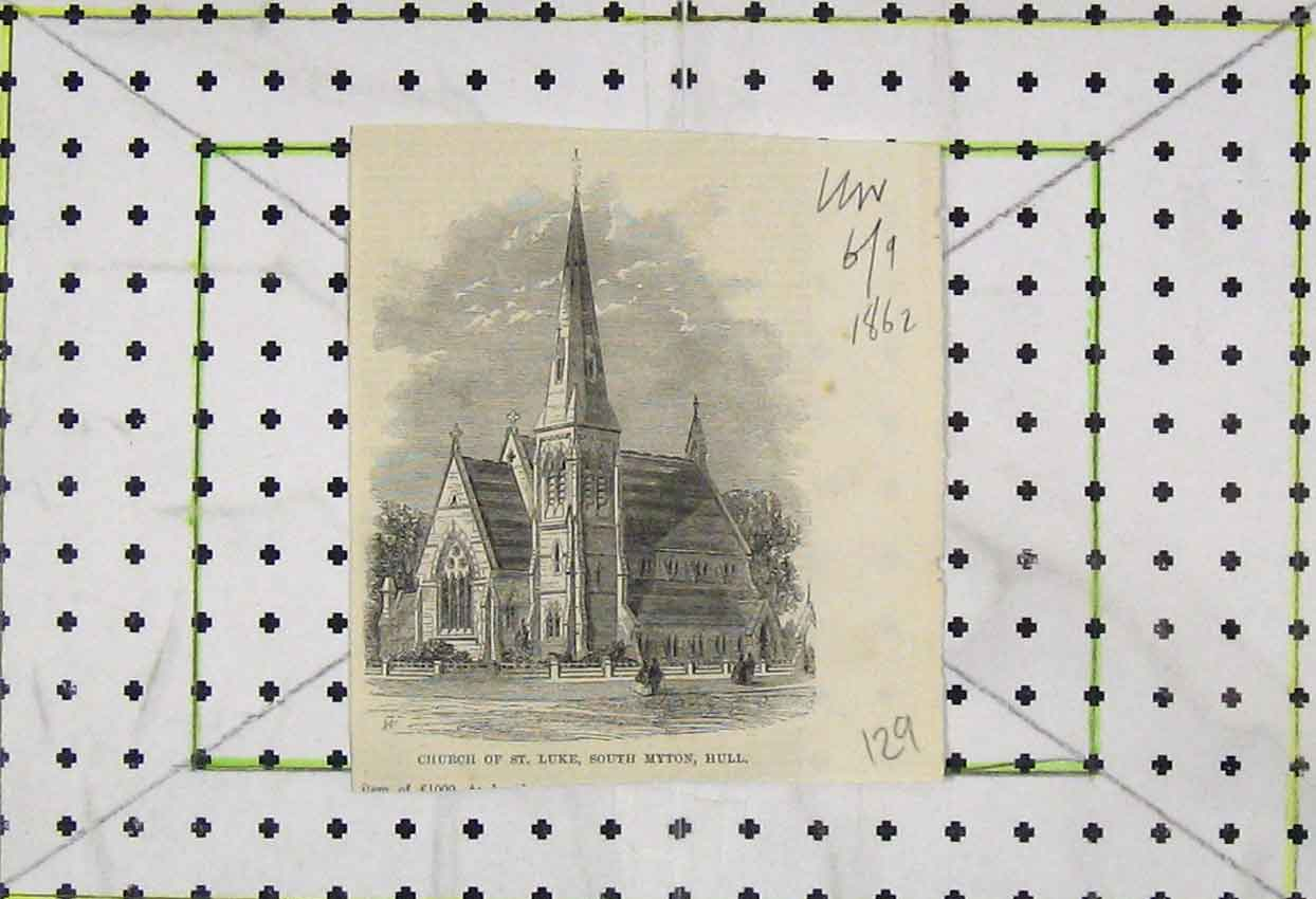 Print 1862 View St Luke Church South Myton Hull 129B253 Old Original