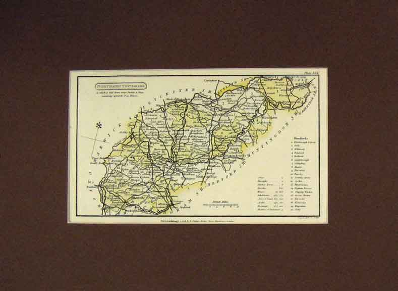 Print 1808 Cooper Map Northamptonshire 119B257 Old Original