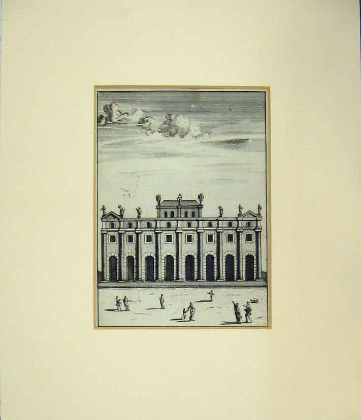 Print  Social History Building Scene Roman People 202B258 Old Original