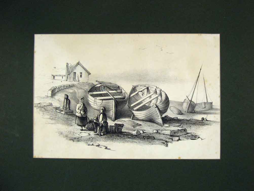 Print 1850 View Fishing Boats Creels Harbour 210B258 Old Original