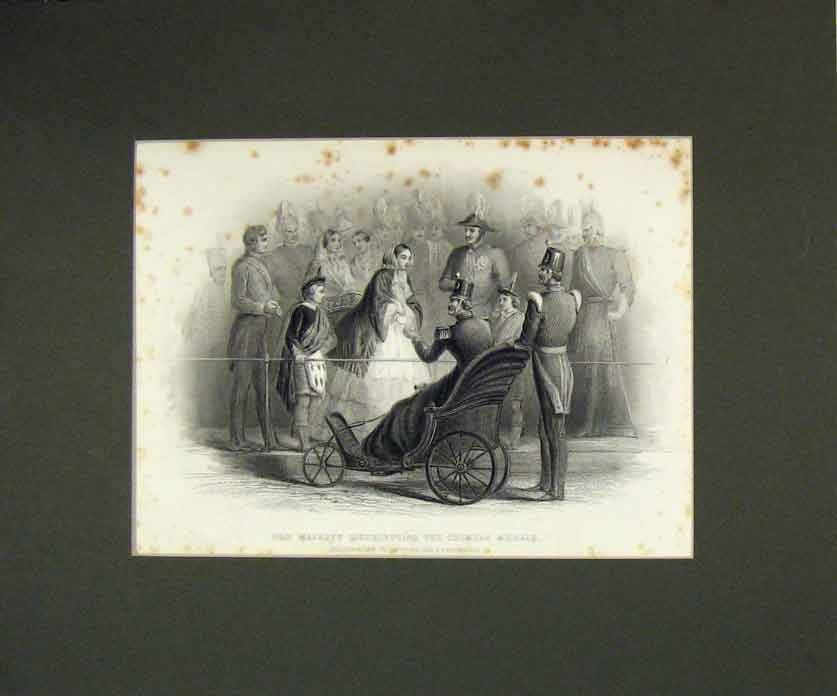 Print 1855 Majesty Queen Distributing Crimean Medals Prin 211B258 Old Original