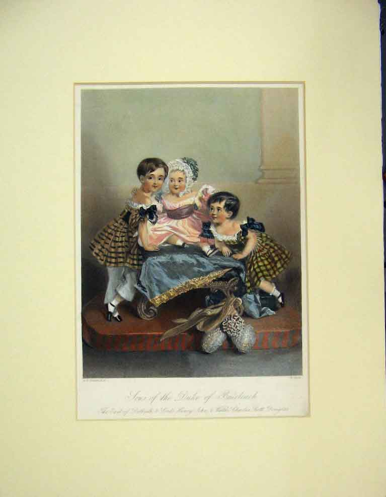 Print 1840 Hand Coloured Portrait Children Duke Buccleuch 313B259 Old Original