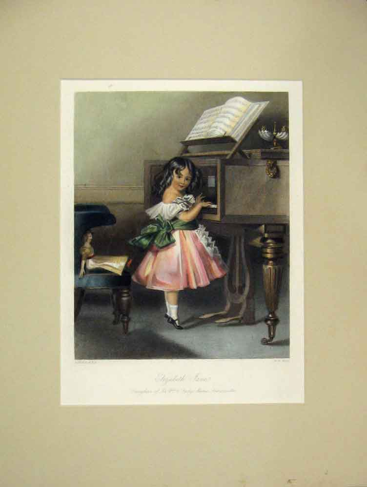 Print Elizabeth Jane Piano Music 1840 Hand Coloured 315B259 Old Original