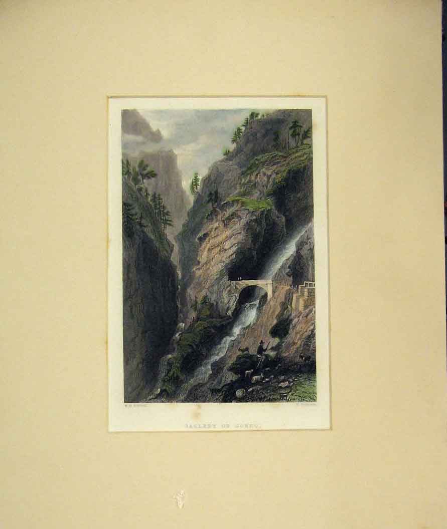 Print 1840 Hand Coloured View Gallery Gondo River Cliff 208B262 Old Original