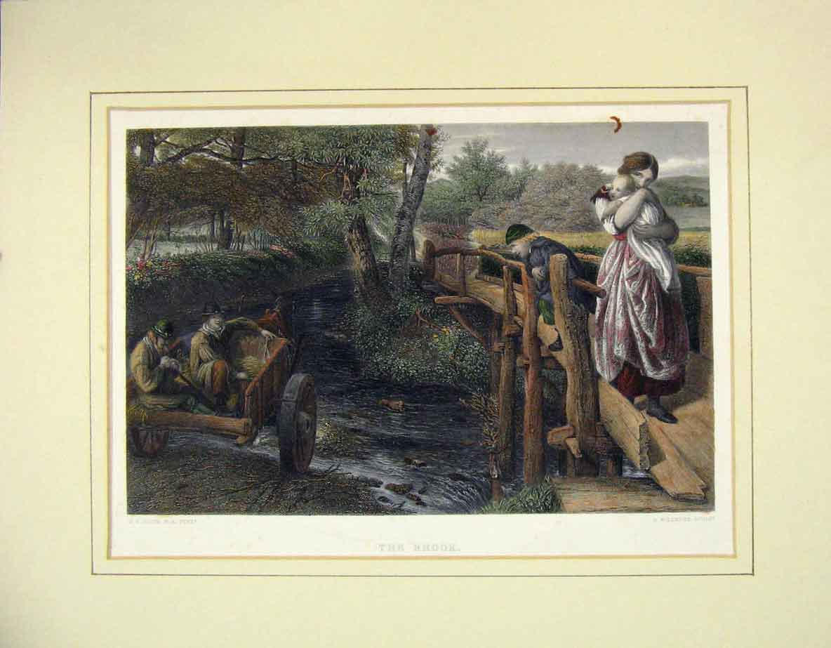 Print Colour View Brook Bridge River Cart Woman Baby 218B262 Old Original