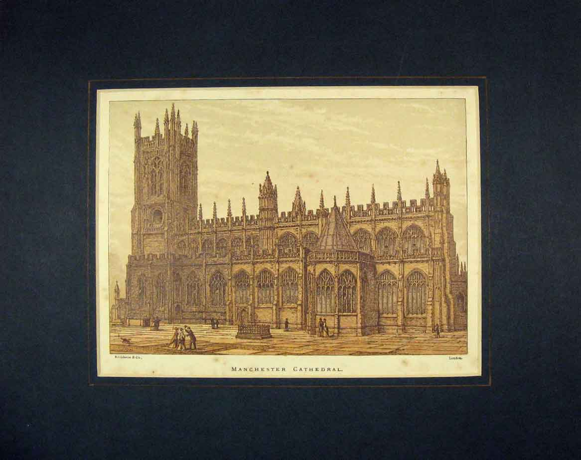 Print  View Manchester Cathedral London 225B262 Old Original