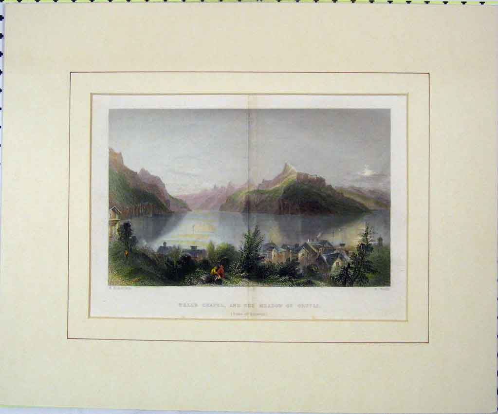 Print 1850 Colour View Tell'S Chapel Meadow Grutli Lake 101B265 Old Original
