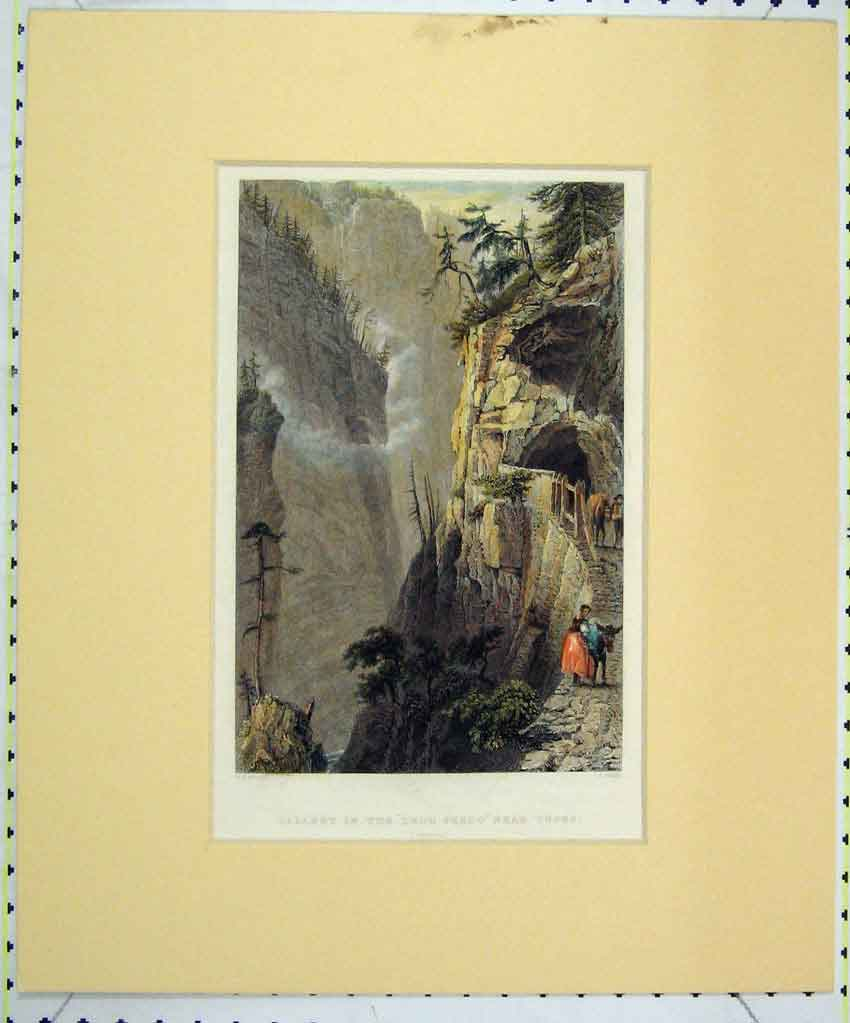 Print Colour 1840 View Gallery Trou Perdu Tuses Grisons 105B265 Old Original