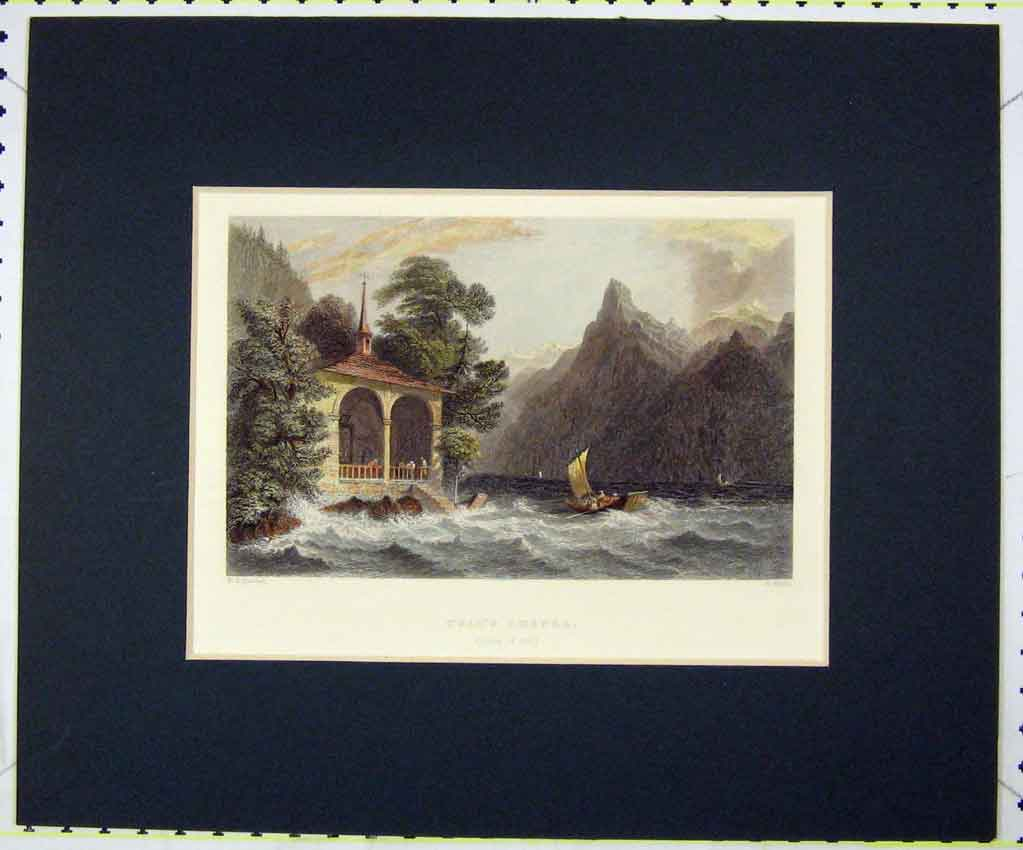 Print 1836 Hand Coloured View Tell'S Chapel Lake Uri 108B265 Old Original
