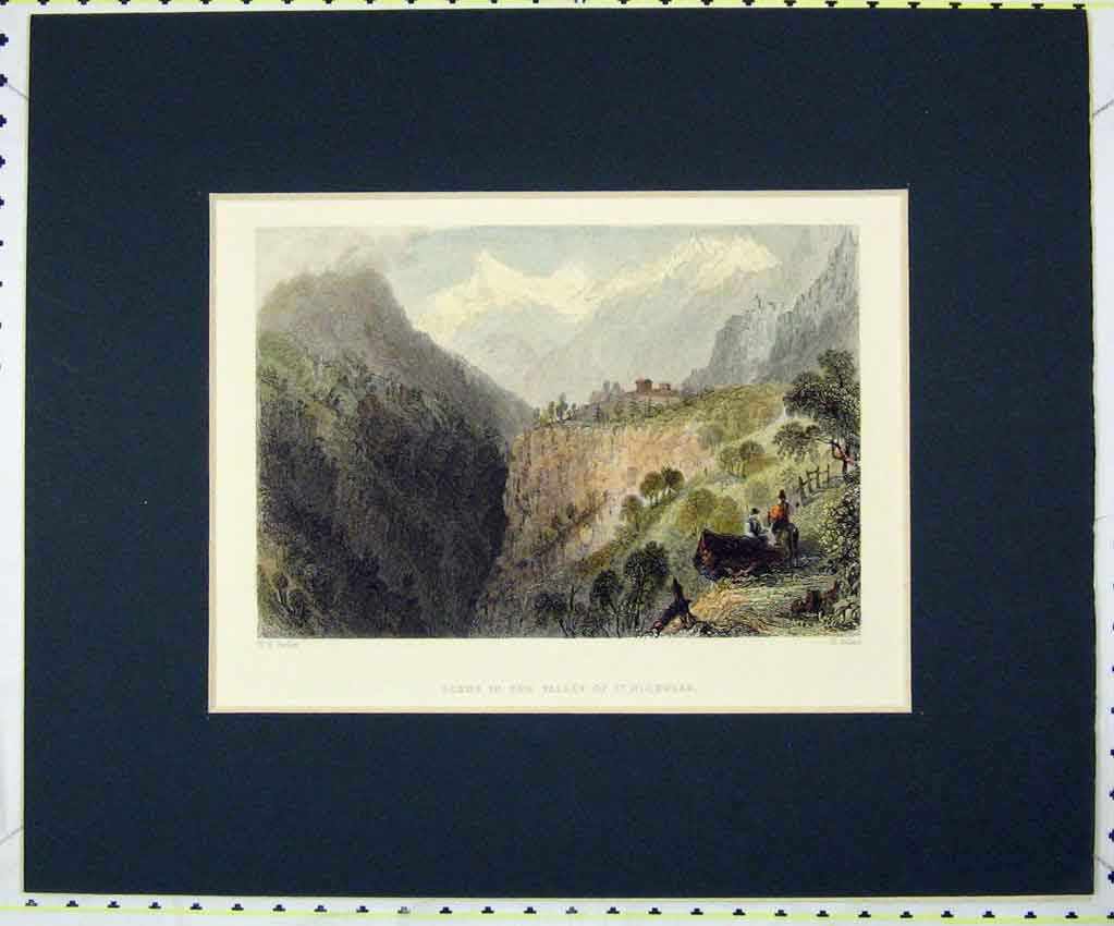 Print 1835 Hand Coloured Scene Valley St Nicholas Adlard 115B265 Old Original