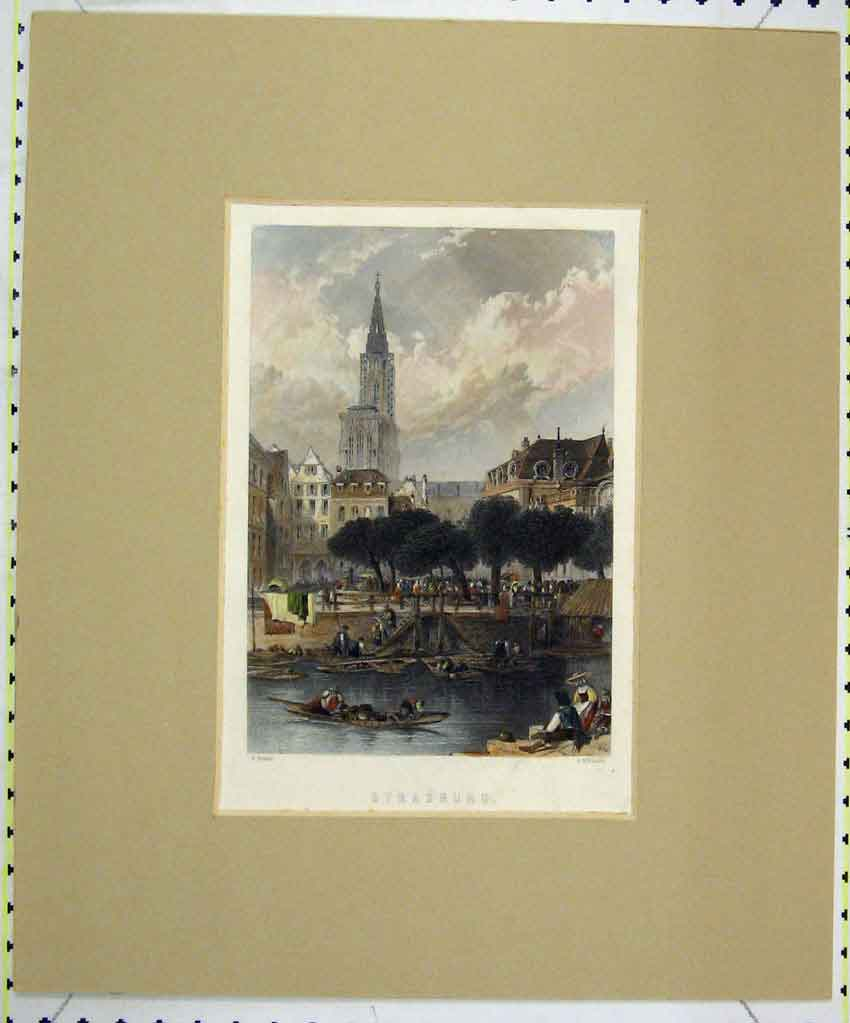 Print View Strasburg 1845 Hand Coloured Town River Willmore 118B265 Old Original