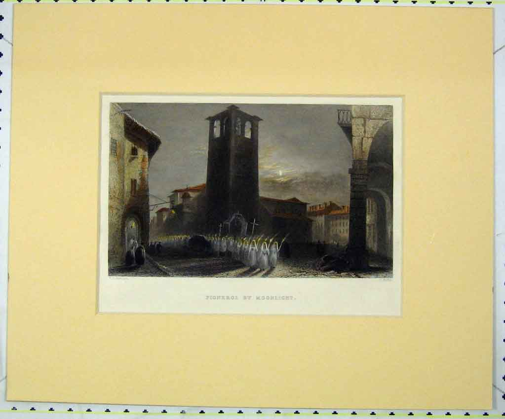 Print View Pignerol Moonlight Hand Coloured 1840 Wallis 119B265 Old Original