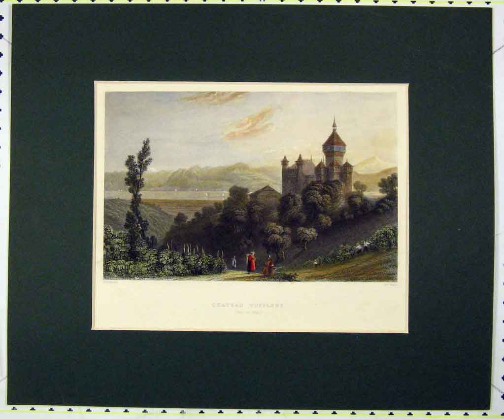 Print Hand Coloured 1834 View Chateau Wufflens Pays De Vaud 120B265 Old Original