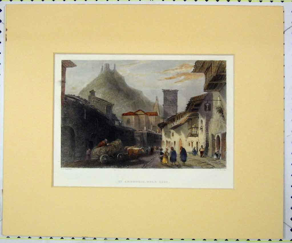 Print View St Ambrogio Susa 1840 Hand Coloured Bentley 125B265 Old Original