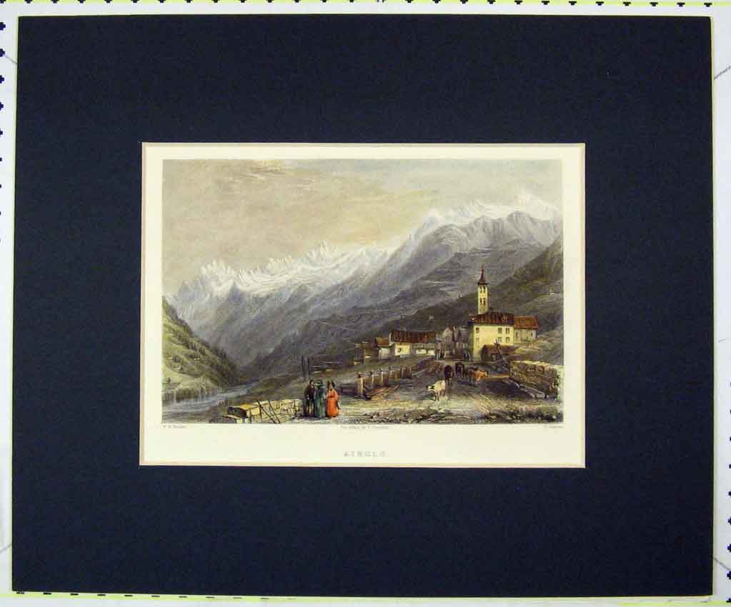 Print View Airolo Mountains 1835 Hand Coloured Jeavons 131B265 Old Original