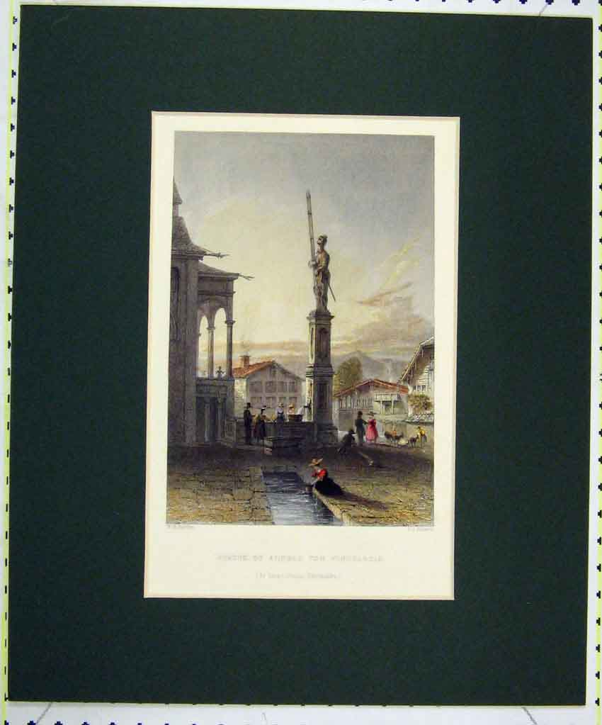 Print 1836 Hand Coloured View Statue ArnVon Winkelreid 136B265 Old Original