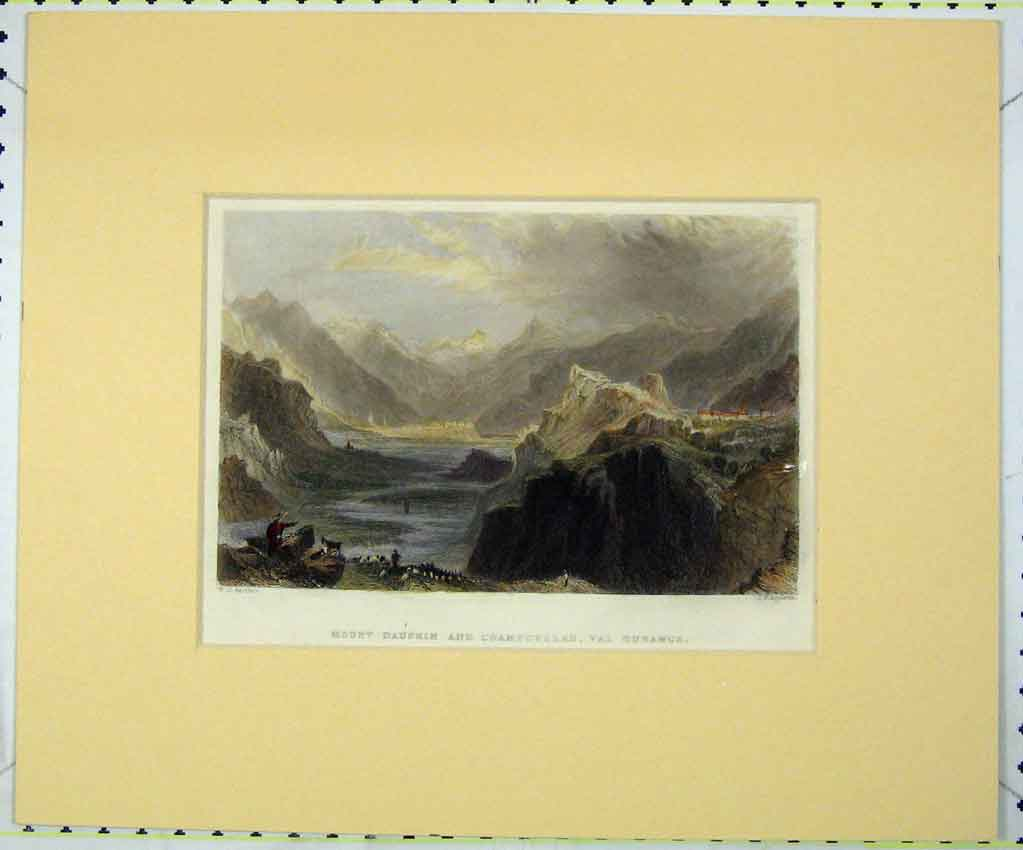 Print Mount Daphin Champcellas Durance 1840 Hand Coloured 138B265 Old Original