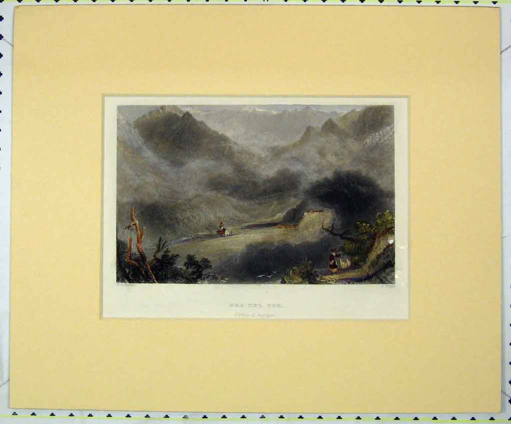 Print 1840 Hand Coloured View Pra Del Tor Valley Angrogne 144B265 Old Original