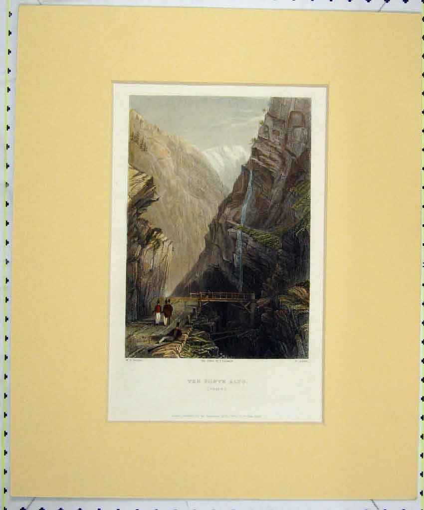 Print 1835 Hand Coloured View Ponte Alto Simplon Jorden 158B265 Old Original