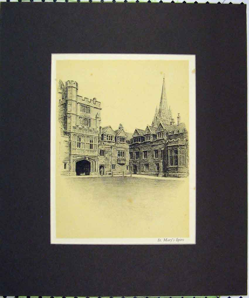 Print 1934 Anique View St Mary'S Spire Church Building 108B266 Old Original