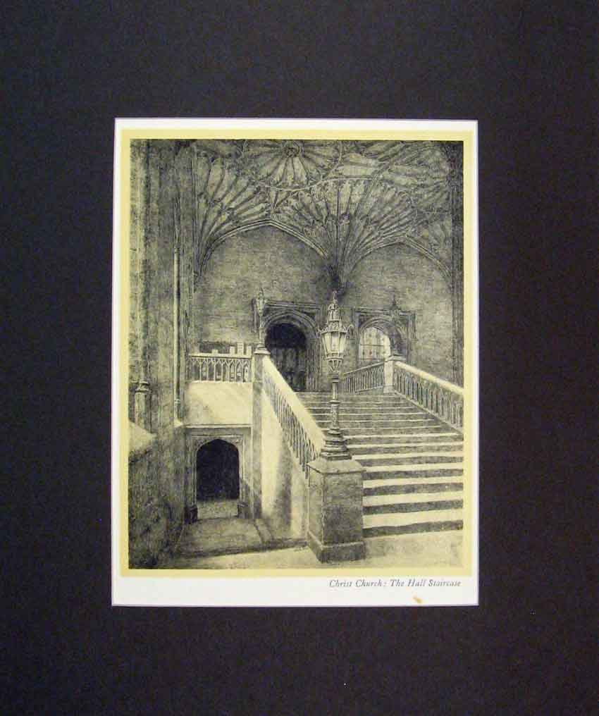 Print 1934 Interior View Christ Church Hall Staircase 111B266 Old Original