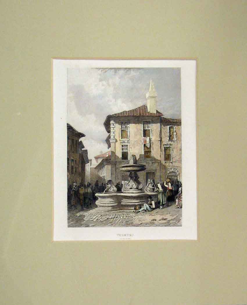 Print View Veletei Rome Town Street 1840 Hand Coloured 409B267 Old Original