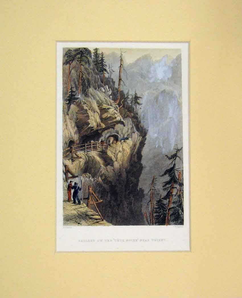 Print 1834 Hand Coloured View Gallery Tete Noire Mountains 410B267 Old Original