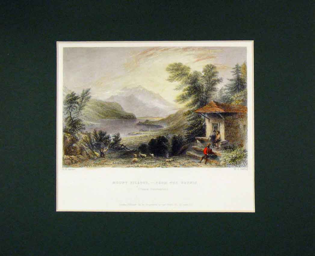 Print 1836 Hand Coloured View Mount Pilatus Runrig 416B267 Old Original