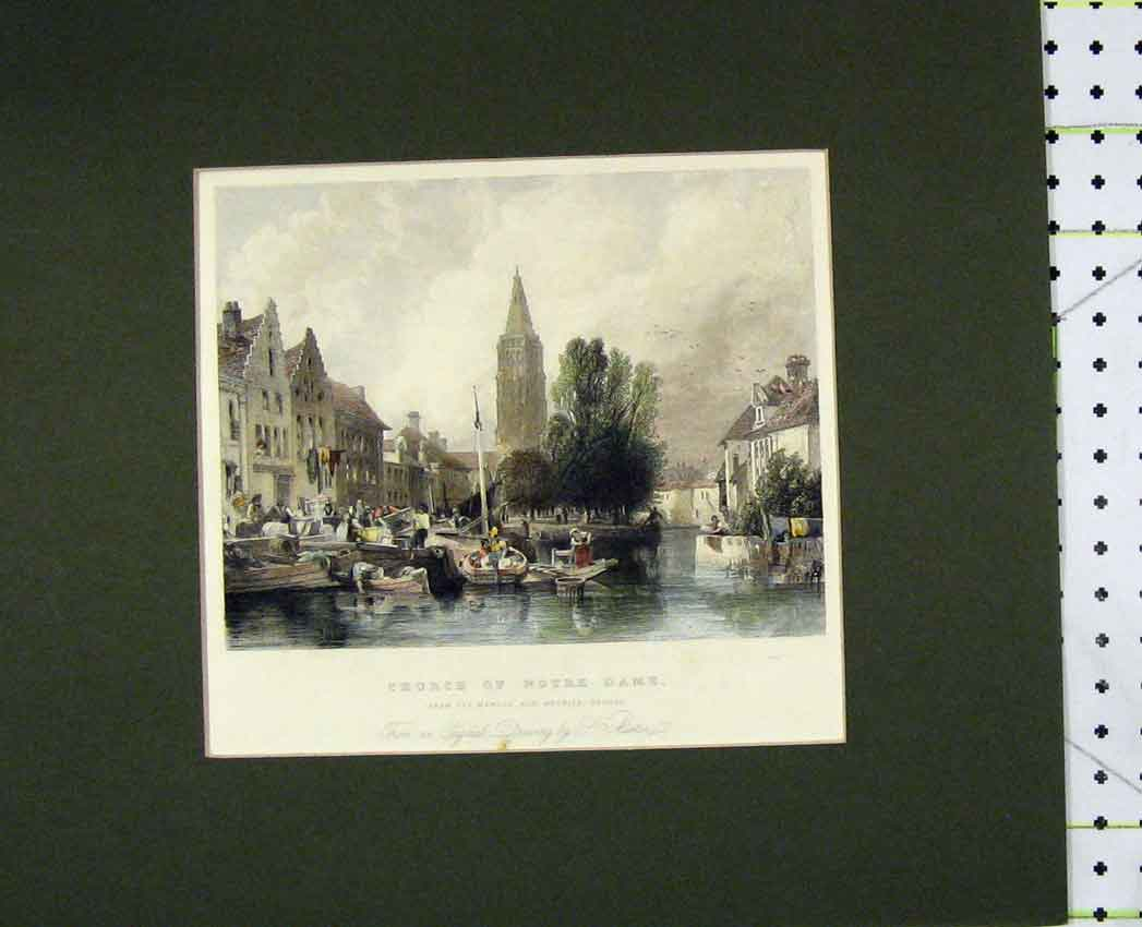 Print 1840 Hand Coloured View Church Notre Dam River Boats 419B267 Old Original