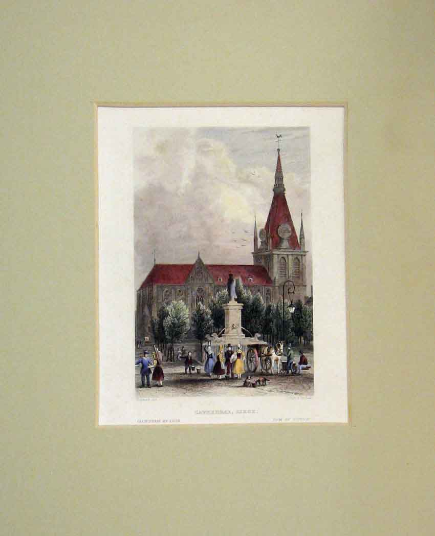Print 1840 Hand Coloured View Cathedral Liege Shury 420B267 Old Original