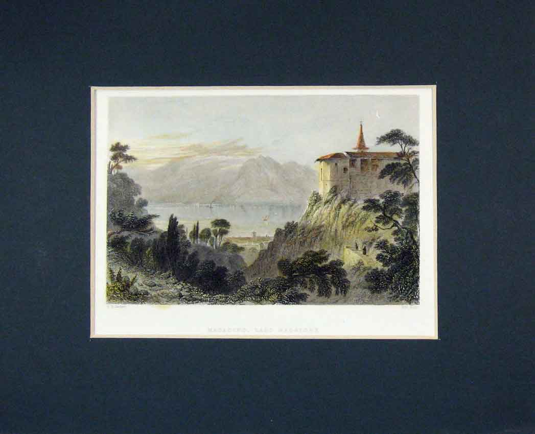 Print 1835 Colour View Magadino Lago Maggiore Wallis 431B267 Old Original