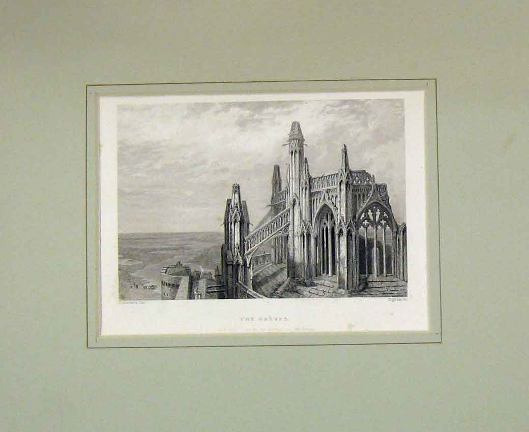 Print 1840 View Greves Cathedral Mount Michael 102B270 Old Original