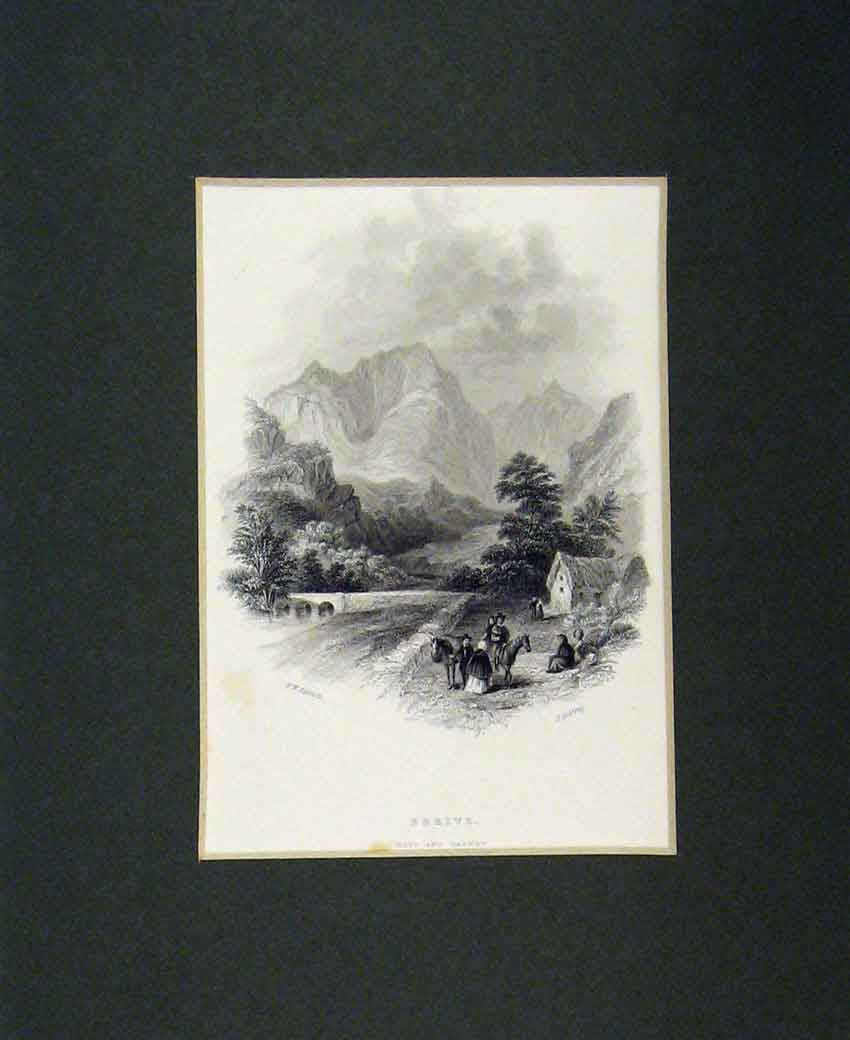 Print 1840 View Errive Mayo Galway Mountains 106B270 Old Original