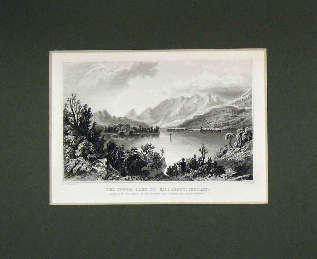 Print 1830 View Upper Lake Killarney Ireland Mountains 107B270 Old Original