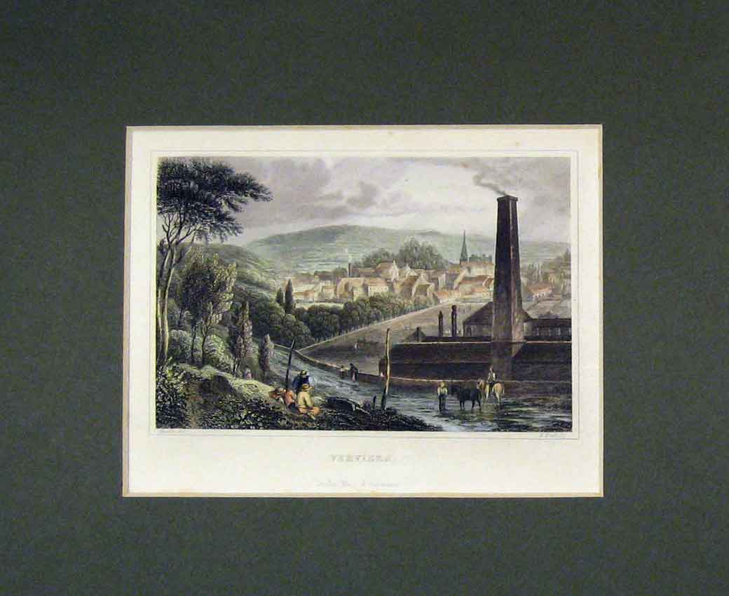 Print 1840 Hand Coloured View Verviers Belgium Mountain 108B270 Old Original